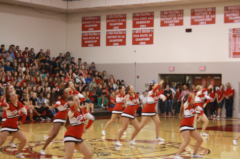 Warrior cheerleaders engage the upperclassmen.