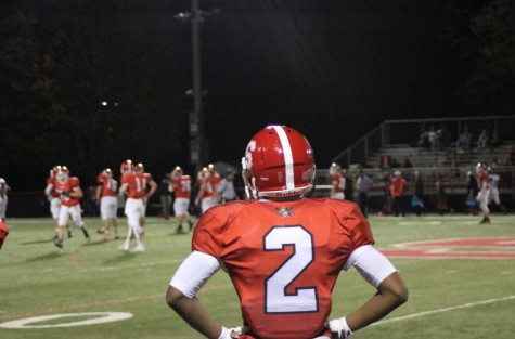 Senior Myles Moultrie looks out on his football field during his final senior home game. Photo by Karly Matthews..