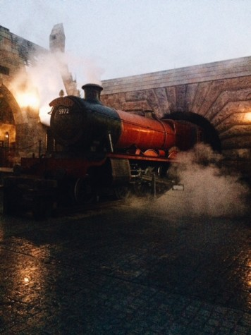 The Hogwarts Express has just entered Hogsmeade in Orlando's theme park.