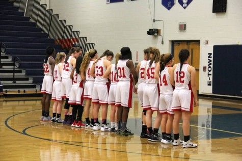 Girls basketball lines up for the national anthem