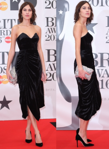 Alexa Chung opted for something classic and sophisticated that fit her name perfectly. She donned a velvet black dress by Preen featuring a sweetheart neckline ruching details on the skirt. Photo By: Courtesy of the Brit Awards O2 Arena in London