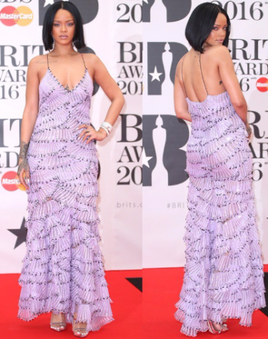 Rihanna's Armani Prive dress features playful layers and ruffles in a beautiful lilac color. Photo By: Courtesy of the Brit Awards O2 Arena in London