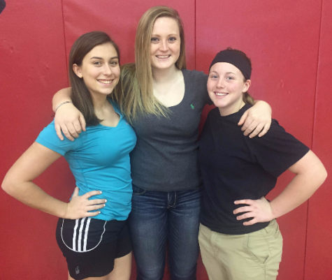 Seniors Maddy Staub (pictured left), Ally Kerr (pictured center), and Lily Yoakum (picured right) express their thoughts on upcoming season. Photo By: Mallory Lebo