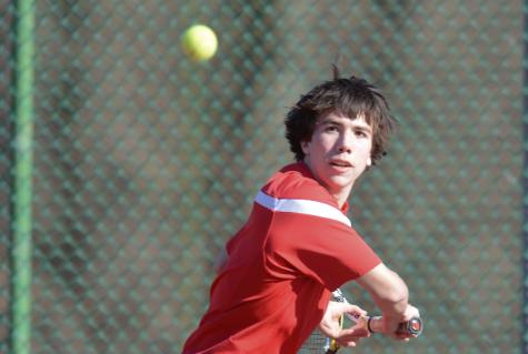 Senior Aaron Gervasio will be playing his last season of Varsity Boys Tennis. Photo by Mike Inkrote.