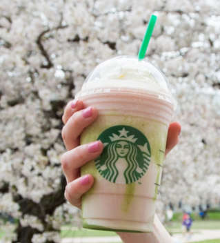 Starbucks recently released their new Cherry Blossom Frappuccino. Screen shot taken from www.starbucks.com