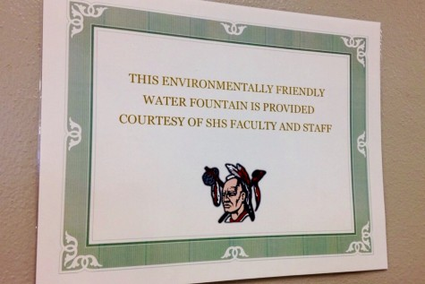 A sign is posted above the filler to show that the faculty and staff of SHS funded it. Photo By Grace Burns