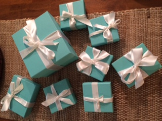 A girl's favorite thing is seeing these little blue boxes.
