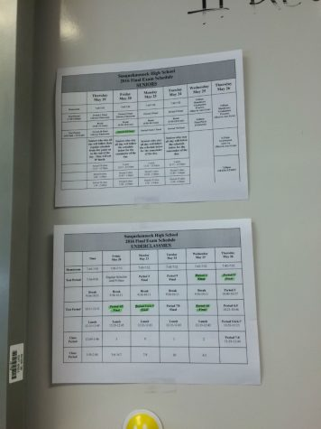 The underclassman and senior finals schedules are located in many classrooms throughout the school.