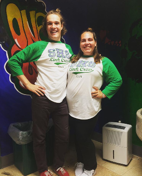 Seniors Robert Jackson (Left) and Tess Clancy (Right) pose together on a Link Crew Development Day. Photo By Tess Clancy.