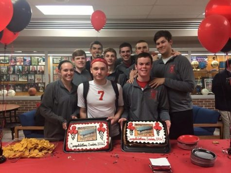 Photo by: Abby Deter Boys Volleyball seniors pose during the senior night party.