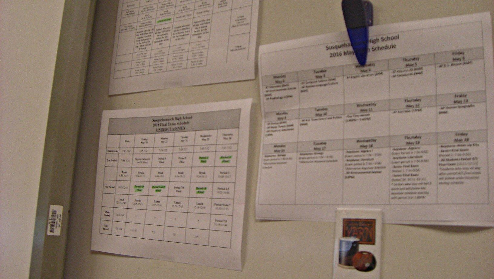 Many teachers have a finals schedule sheet hanging up in their classroom. Photo by: Ariel Barbera