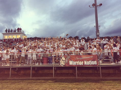 """Susquehannock's student section during the """"white-out"""". Photo courtesy of Jackson Murphy."""
