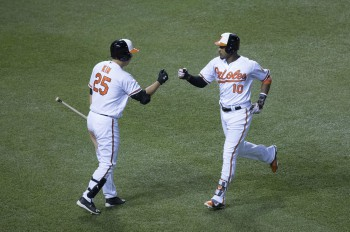 Adam Jones and Hyun Soo Kim celebrate scoring a run. Photo from Keith Allison.