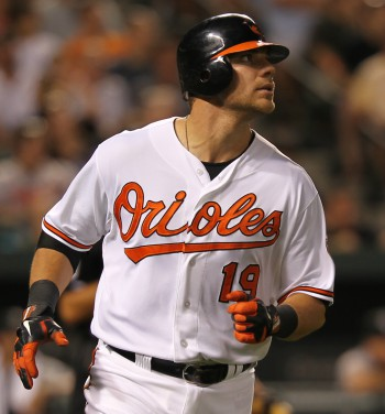 Chris Davis admires home run. Photo from Keith Allison