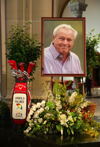 Picture of Arnold Palmer's memorial. Screenshot from @PGATOUR on Twitter