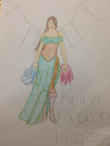 Reall's drawing of her own main character Kura.