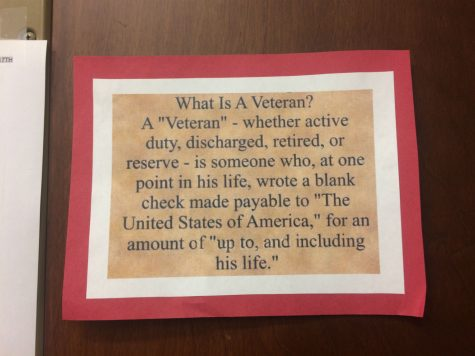 The library honored veterans by putting up a poster that defined what a veteran is.