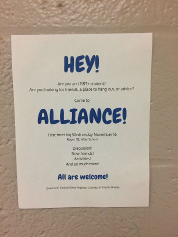 Alliance posted posters throughout the school to let students know about the club and their first meeting.