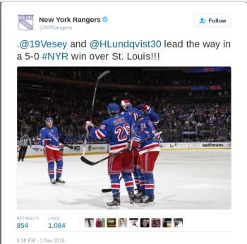 Photo of a Rangers goal celebration. Photo courtesy of New York Rangers twitter