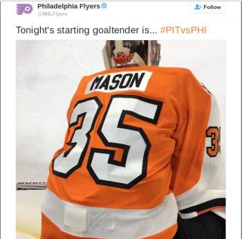 Photo of the back of Flyer's goalie Steve Mason. Photo courtesy of Philadelphia Flyers twitter account