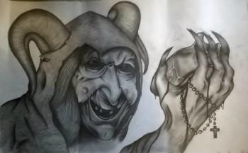 Senior Dae'huan Gray draws a witch.