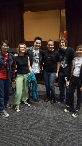 Muller and her friends with Spanish singer Emir after the concert. Photo by Muller.