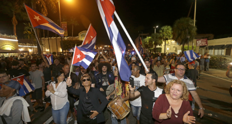 People of Miami spill onto the streets after receiving the news that Fidel Castro is dead. Photo courtesy Alan Diaz