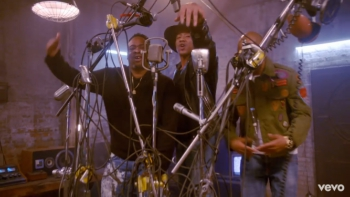 "Q-Tip, Jarobi White and Ali Shaheed Muhammed jamming together in the ""We The People"" music video."