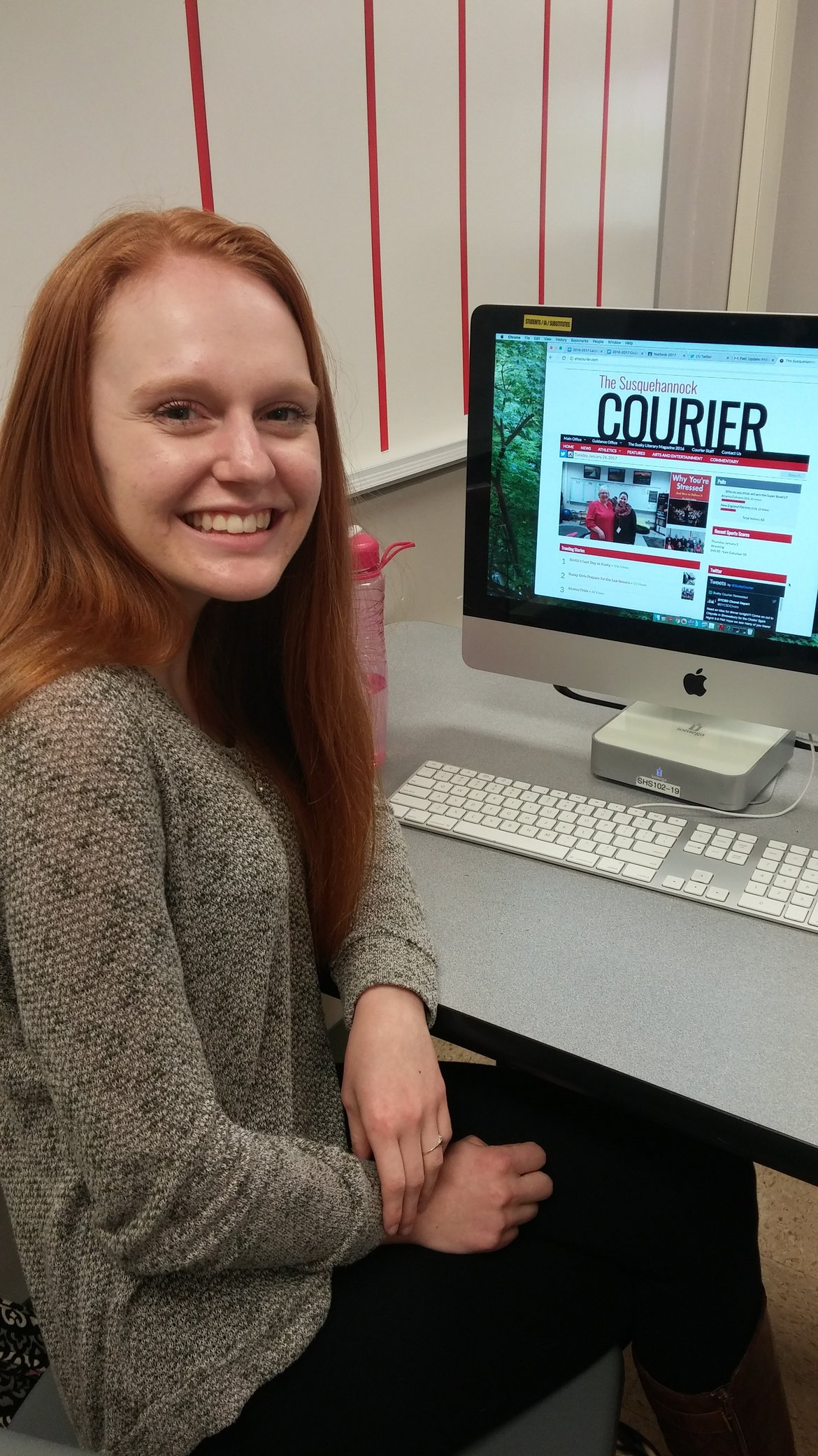 Senior Emily Rivers is a proud member of the Courier and enjoys working hard to provide the school with news. Photo by: Ariel Barbera