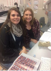 Seniors Becca Woods and Katelin Tyler enjoy being on the yearbook staff because it is a 'club' that allows you to show off your creativity.