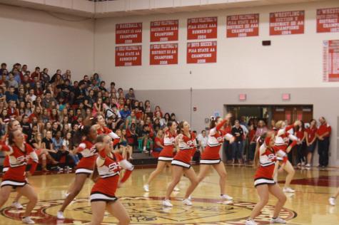 Warrior cheerleaders engage the upperclassmen.