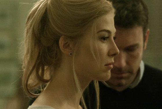 Ben Affleck and Rosamund Pike as Nick and Amy Dunne after a fight in Gone Girl. Still courtesy 20th Century Fox.
