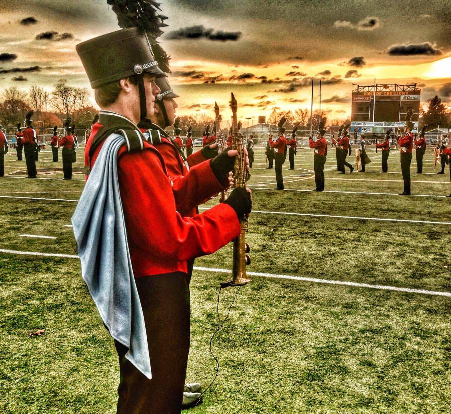 Marching band practices for their biggest performance of the year. Photo by John Smith.