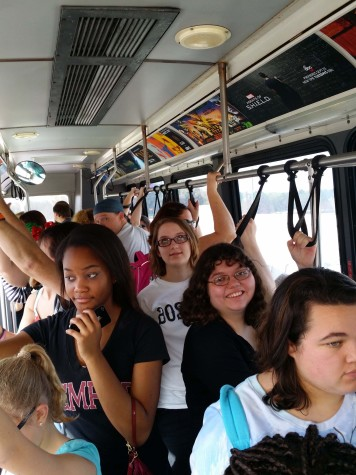 Members of the choir take a bus to their next destination in Disney.  Photo By: Men Whitesell