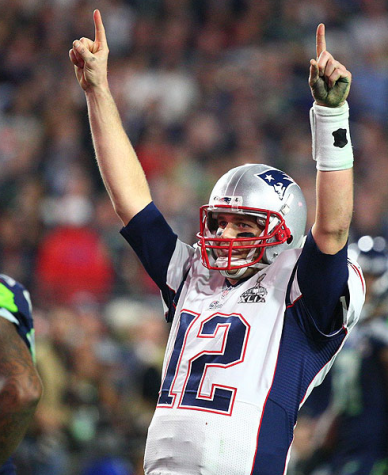Tom Brady after a touchdown throw in Super Bowl 48. Photo by Robert Beck
