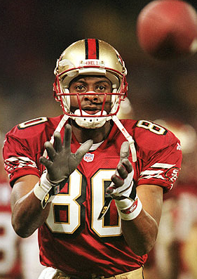 Jerry Rice is highly speculated to be the greatest wide receiver to ever play the game. Photo by Getty Images