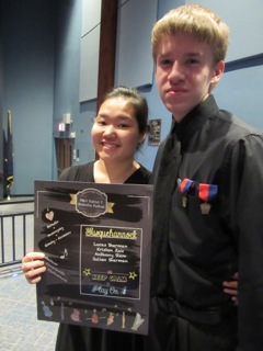 Students in the Orchestra program at Susquehannock holding the award they received at Districts. Photo by: Margarida Sherman