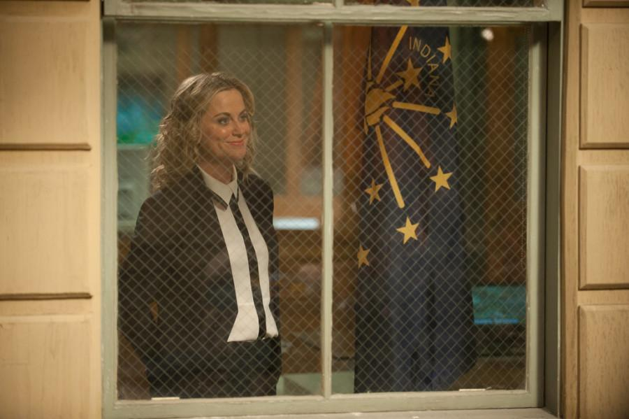 Leslie stares out of her old office window for the last time. Photo courtesy NBC.