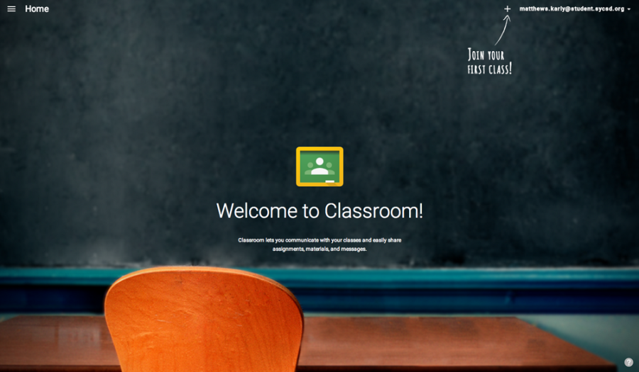 By using a Gmail account, Google Classroom allows students to login with their student accounts. Screenshot courtesy of classroom.google.com