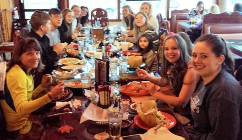 Spanish Club enjoys their food at Fiesta Mexico.