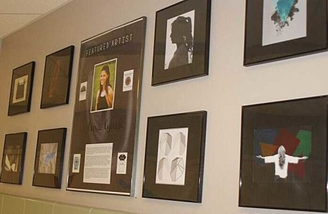 A display of Lynch's work can be found on the walls entering into the library.