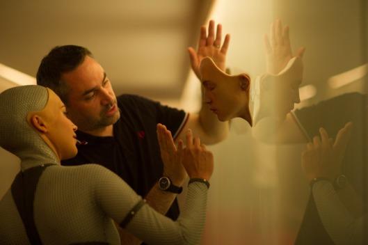 Alicia Vikander and Alex Garland work on set. Photo courtesy A24.