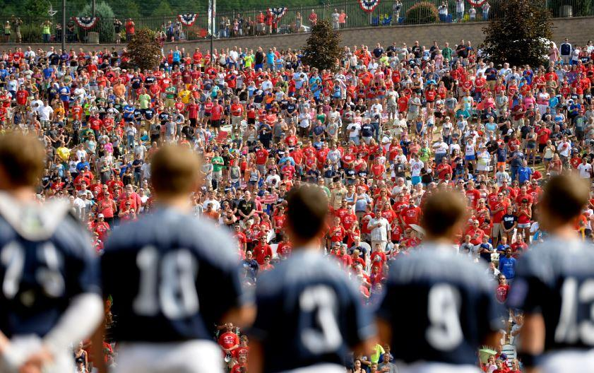 The Red Land team looks out to the sea of fans. Photo courtesy of Chris Dunn — Daily Record/Sunday News.