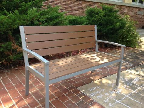 A new bench adds a modern feel to the courtyard. Photo By: Grace Burns