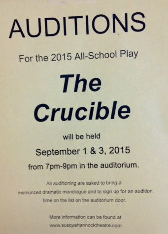 Signs advertising for the play were hung all around the school.