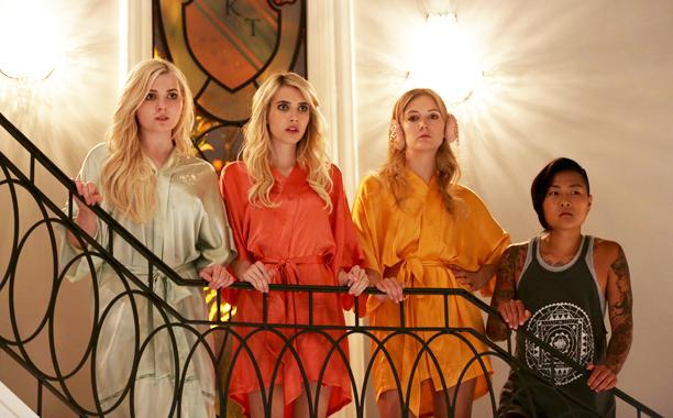 The stars of Scream Queens preside over their sorority. Courtesy FOX.