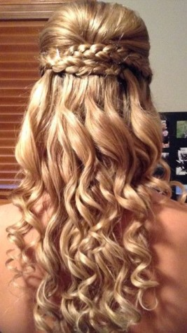 A braided crown goes well with curly hair. Photo by: http://www.closeronline.co.uk/2014/05/getting-ready-for-prom-check-out-our-top-12-prom-styles-for-long-hair#image-10