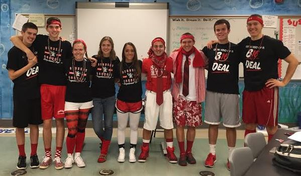 Student Council seniors get together in homeroom before the spirit day. Photo courtesy of Jake Smith.
