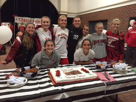 Senior girls soccer players celebrate their last year of being on the soccer team.
