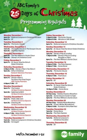 The ABC Family 25 Days of Christmas special is one that many people watch and enjoy. The schedule for the days leading up to Christmas is shown here.